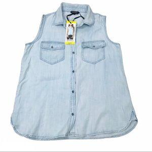 Buffalo Blue chambray sleeveless light denim shirt